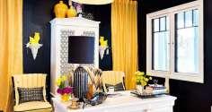 Желтые шторы в интерьере кабинета, кухни и гостиной.