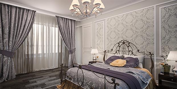 Оформление красивыми шторами спальной комнаты
