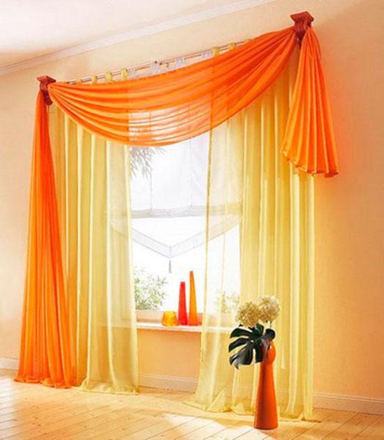 Красивое оформление штор в зале