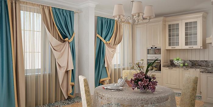 Красивое оформление штор на кухне