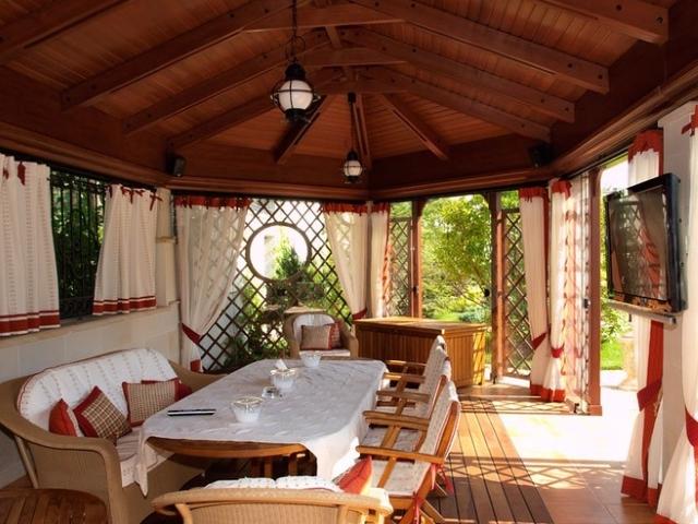 шторы на веранде, варинты оформления