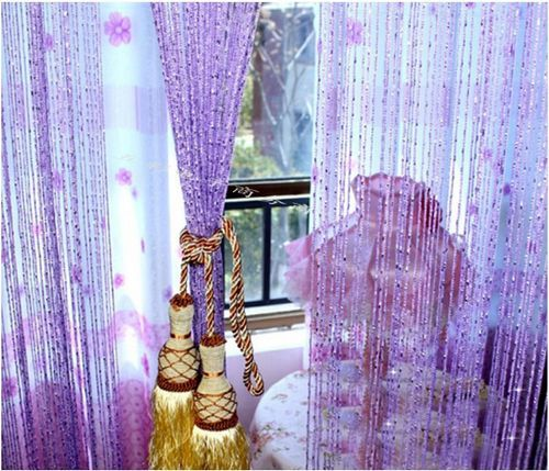 Декоративные межкомнатные шторы из бусин, дисков, колец и нитей