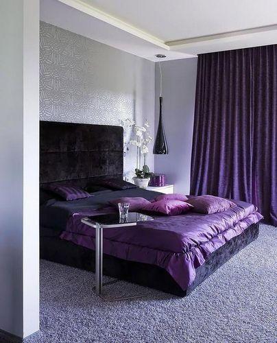 сиреневые шторы в интерьере фото
