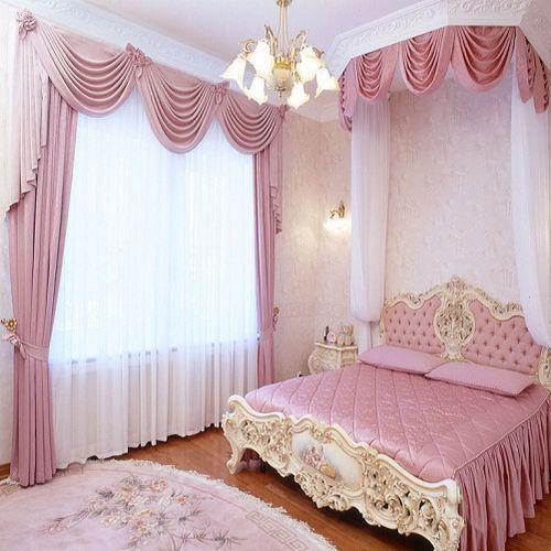 Цвет штор в розовую спальню