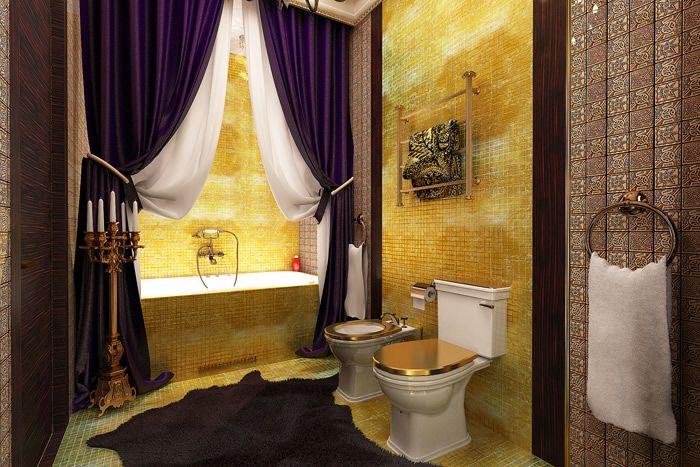 27Дизайн ванной комнаты со шторами